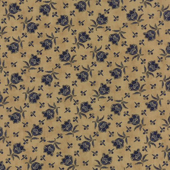 Lexington Blue Roses on Tan  Moda Quilt Fabric by the 1/2 yard