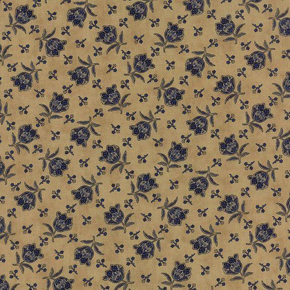 Lexington Blue Roses on Tan  Moda Quilt Fabric by the 1/2 yard