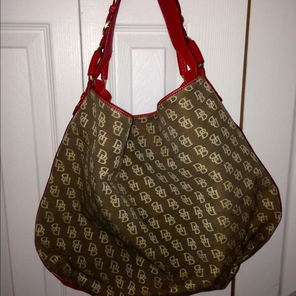 Dooney&Burke Tote Good condition. Material:  Canvas/Leather  Color:  Taupe/Red Dooney & Bourke Bags Hobos