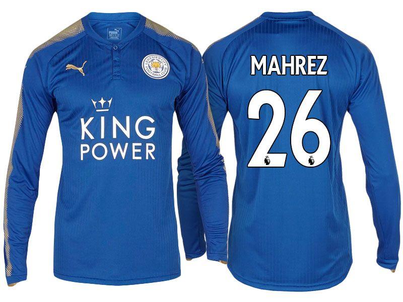 buy online e9515 9f3dc Leicester City Jersey riyad mahrez Home Long Sleeve 17-18 ...