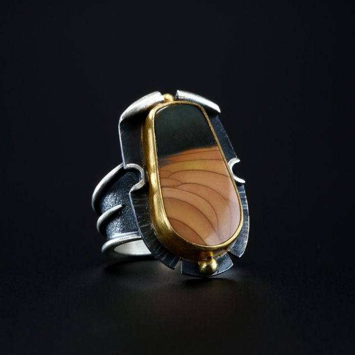 Christine Marie Morrisonite Jasper Ring. Fabricated Sterling Silver, 18k and 22k Gold. www.amybuettner.com https://www.facebook.com/pages/Metalsmiths-Amy-Buettner-Tucker-Glasow/101876779907812?ref=hl https://www.etsy.com/people/amybuettner http://instagram.com/amybuettnertuckerglasow
