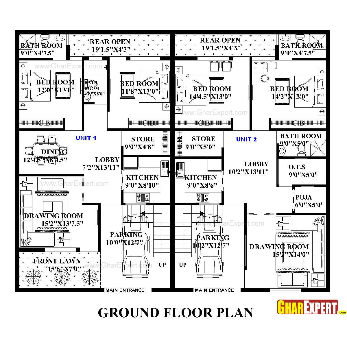 Architectural plans naksha commercial and residential 250 square foot apartment floor plan