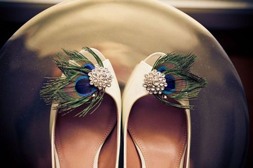 Wedding Pumps Shoes With Peacock Feathers