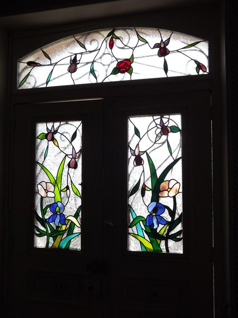 Vitrail porte entrée motif floral : Vitraux d\'Art Vanessa Dazelle ...