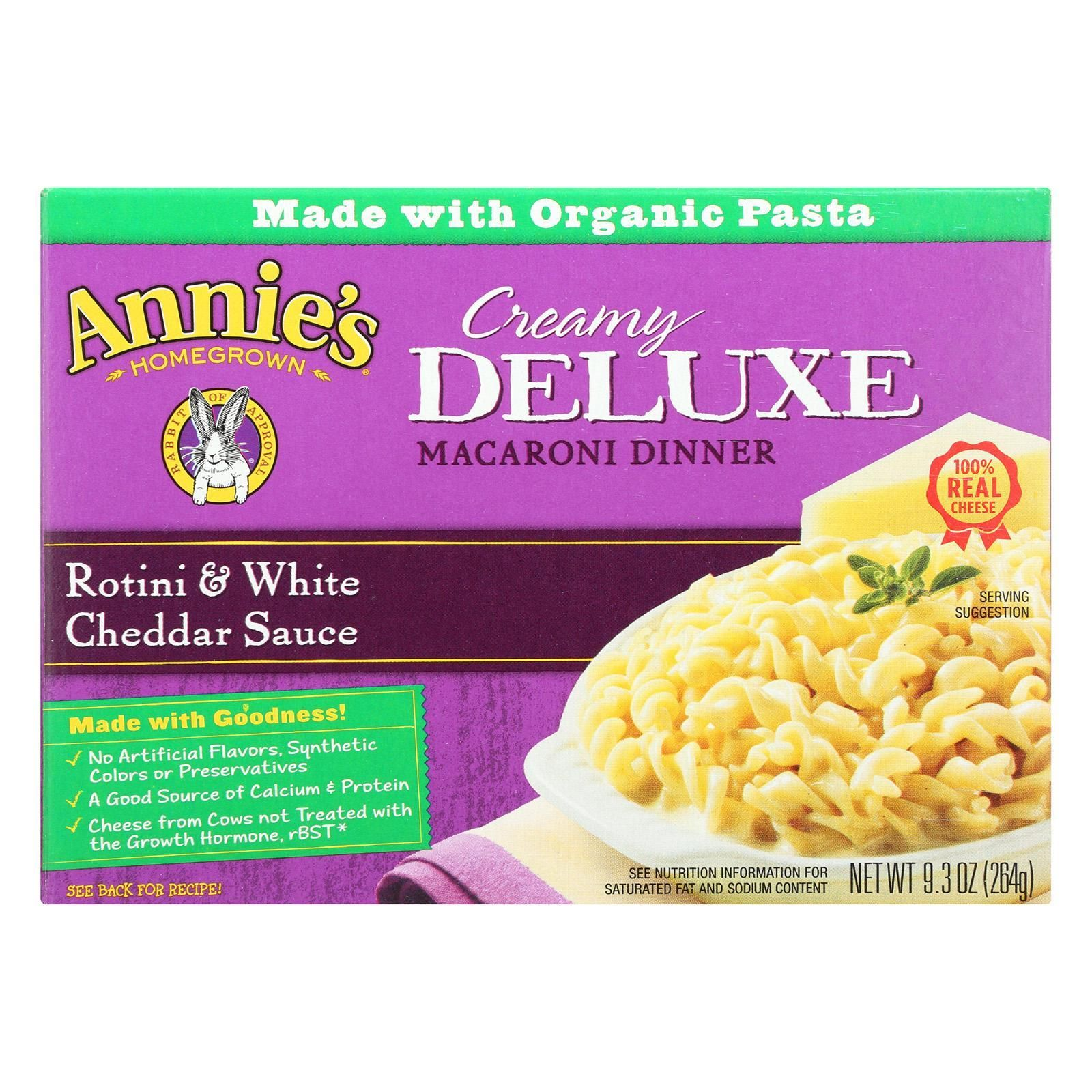 Annies homegrown deluxe rotini and white cheddar sauce