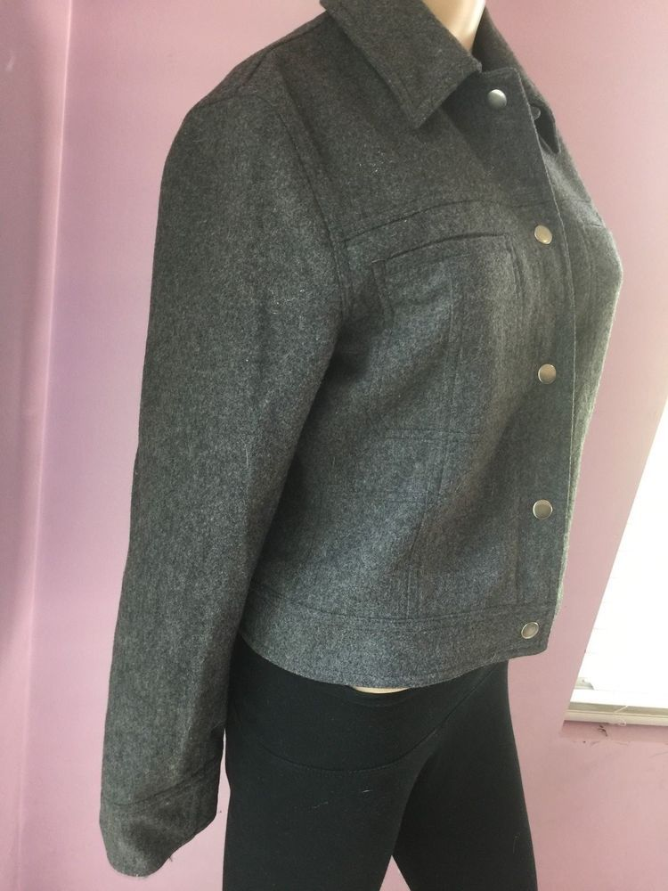 Express Women S Elegants Jacket Sz 1 2 Gray Color Pressure Buttons