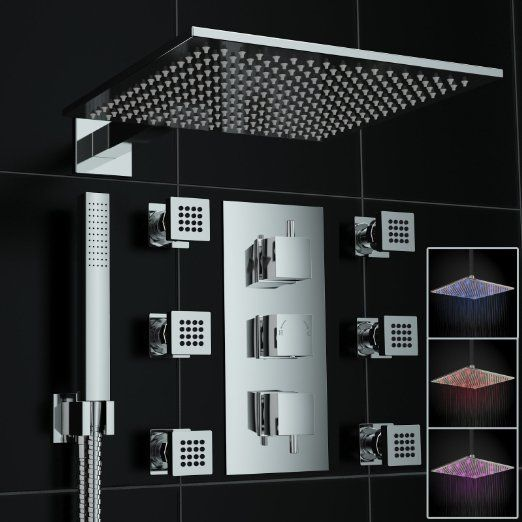 Concealed Thermostatic Mixer Shower Body Jet 300mm LED Set