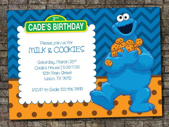 The Cookie Monster Birthday Invitations With Alluring Layout Monster Birthday Monster 1st Birthdays Monster Birthday Invitations