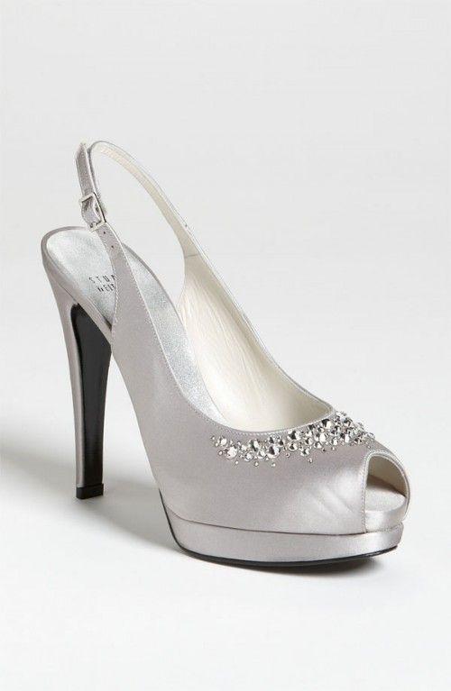 6e50acc196f Stuart Weitzman Women s Necklace Pump Plata Satin Designer Wedding Shoes
