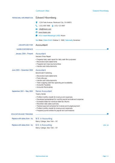 Europass CV Template - Free Resume Template by Hloom Places - free resume download in word format