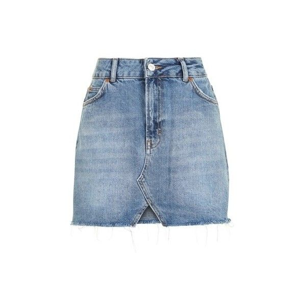Topshop Moto Cut Out Mini Denim Skirt ($37) ❤ liked on Polyvore featuring skirts, mini skirts, mid stone, denim mini skirt, mini skirt, short blue skirt, topshop skirts and blue mini skirt