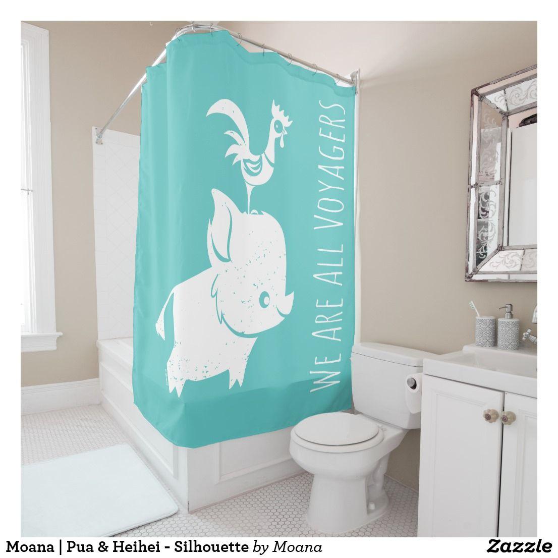 Moana Pua Heihei Silhouette Shower Curtain Zazzle Com Trendy Shower Curtain Printed Shower Curtain Bathroom Themes
