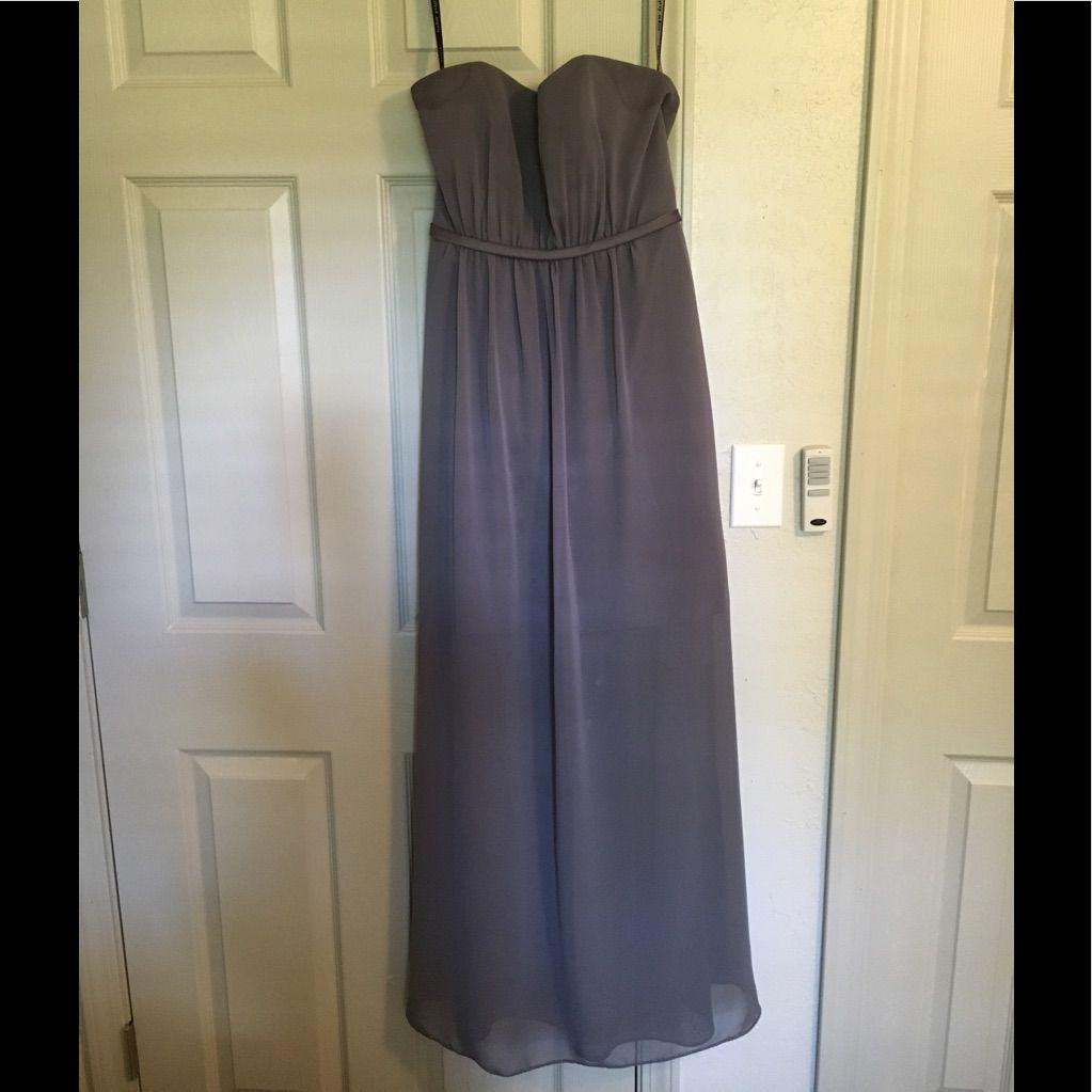 Sleeveless, Gray Alfred Angelo Bridesmaid Dress.