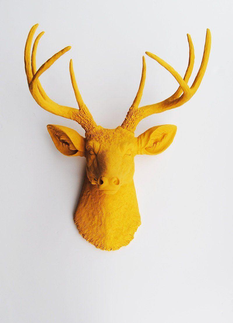 The Victoria Mustard Resin Deer Head | Grey Bathroom with yellow ...