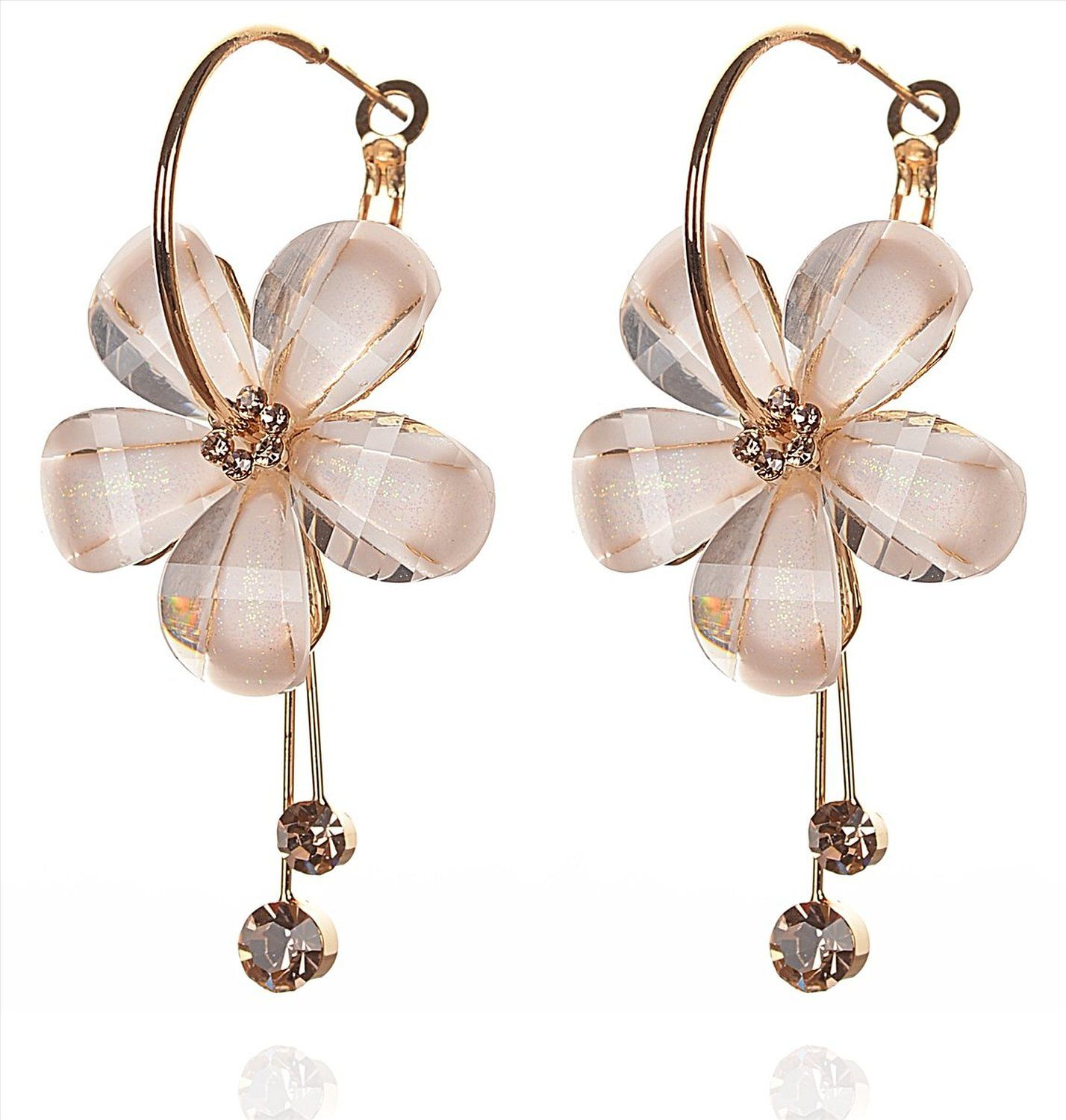 Buy Zephyrr Fashion Hanging Hoop Earrings Flower White Peach Stone for Women Online at Low Prices in India   Amazon Jewellery Store - Amazon.in