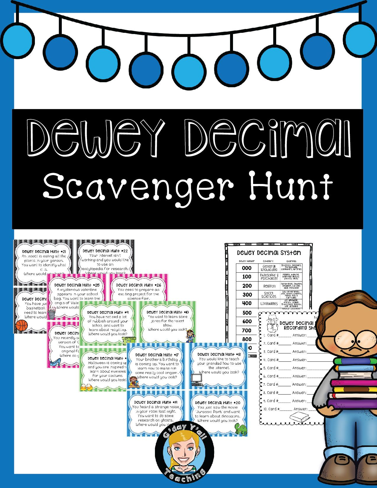Dewey Decimal Scavenger Hunt- An engaging way to teach students in the  library about the Dewey Deci…   School library lessons [ 1650 x 1275 Pixel ]
