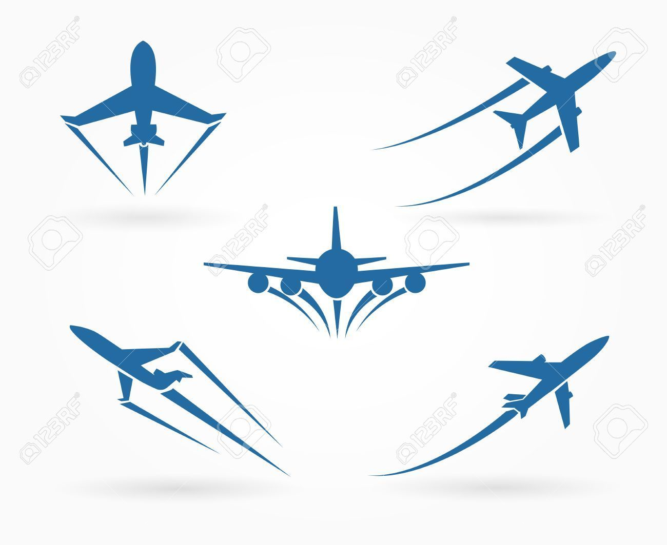 Flying Up Airplane Icons Takeoff Plane Symbol Vector