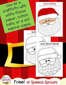 Free Santa Advent Calendar or craftivity for Christmas