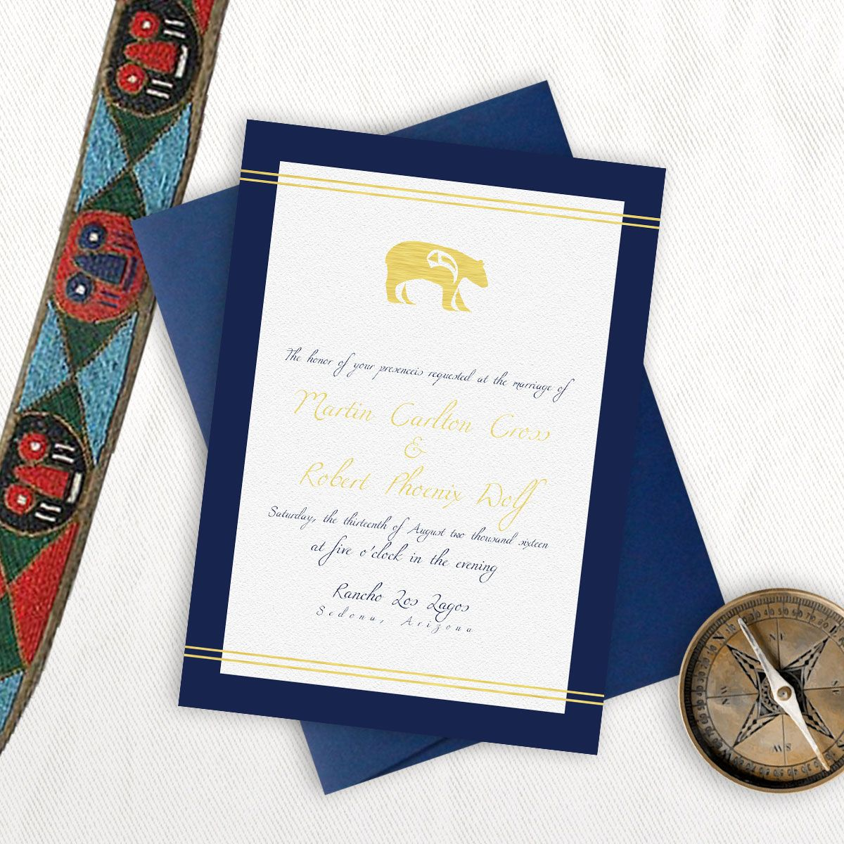 Foil western bear u creme paperie native american wedding