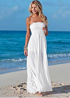 Coral maxi dress beach wedding