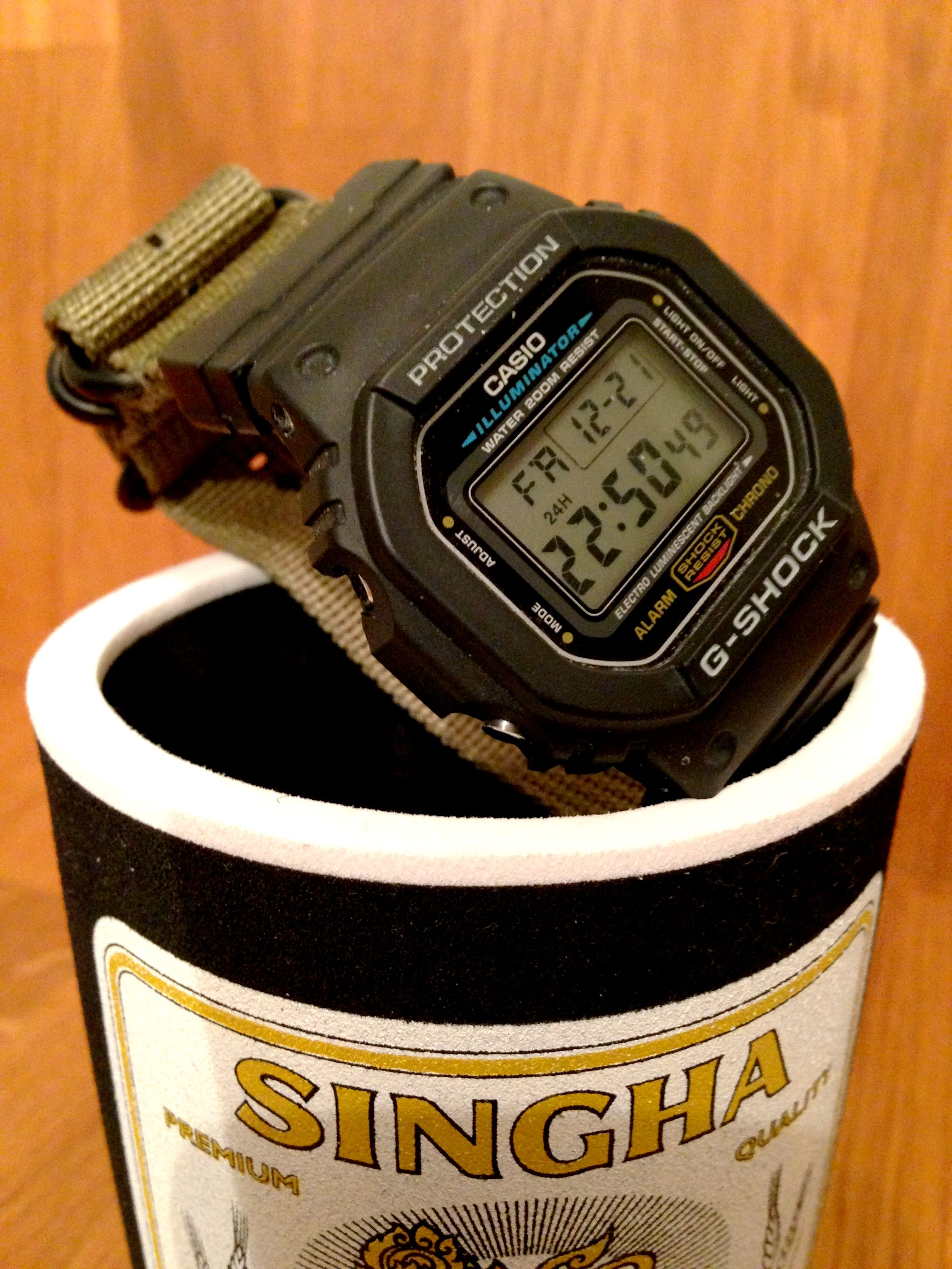 CASIO G-SHOCK DW-5600E. One of the toughest quarts wristwatches ever made.  Here with Zulu Nato 22-24mm adaptors. e26b228e8