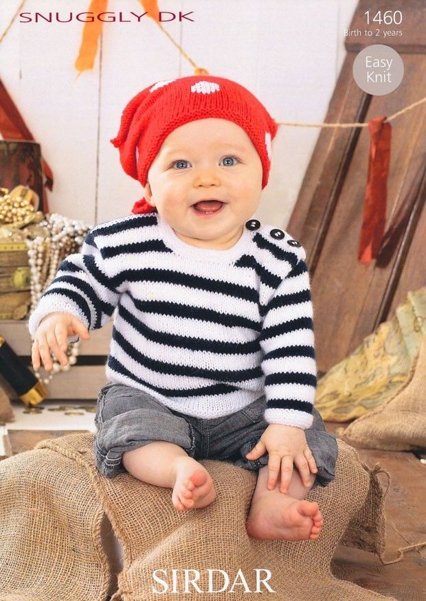 Sirdar Baby Knitting Pattern 1460 Sweater and Headscarf Snuggly DK