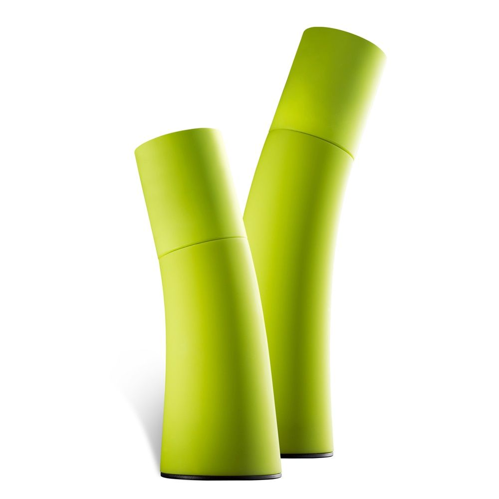 Salt Pepper Grinders In Green Ceramic
