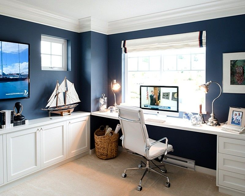Home Office Ideas Blue Walls With White Furnitures Cozy Home Office Home Office Design Guest Room Office