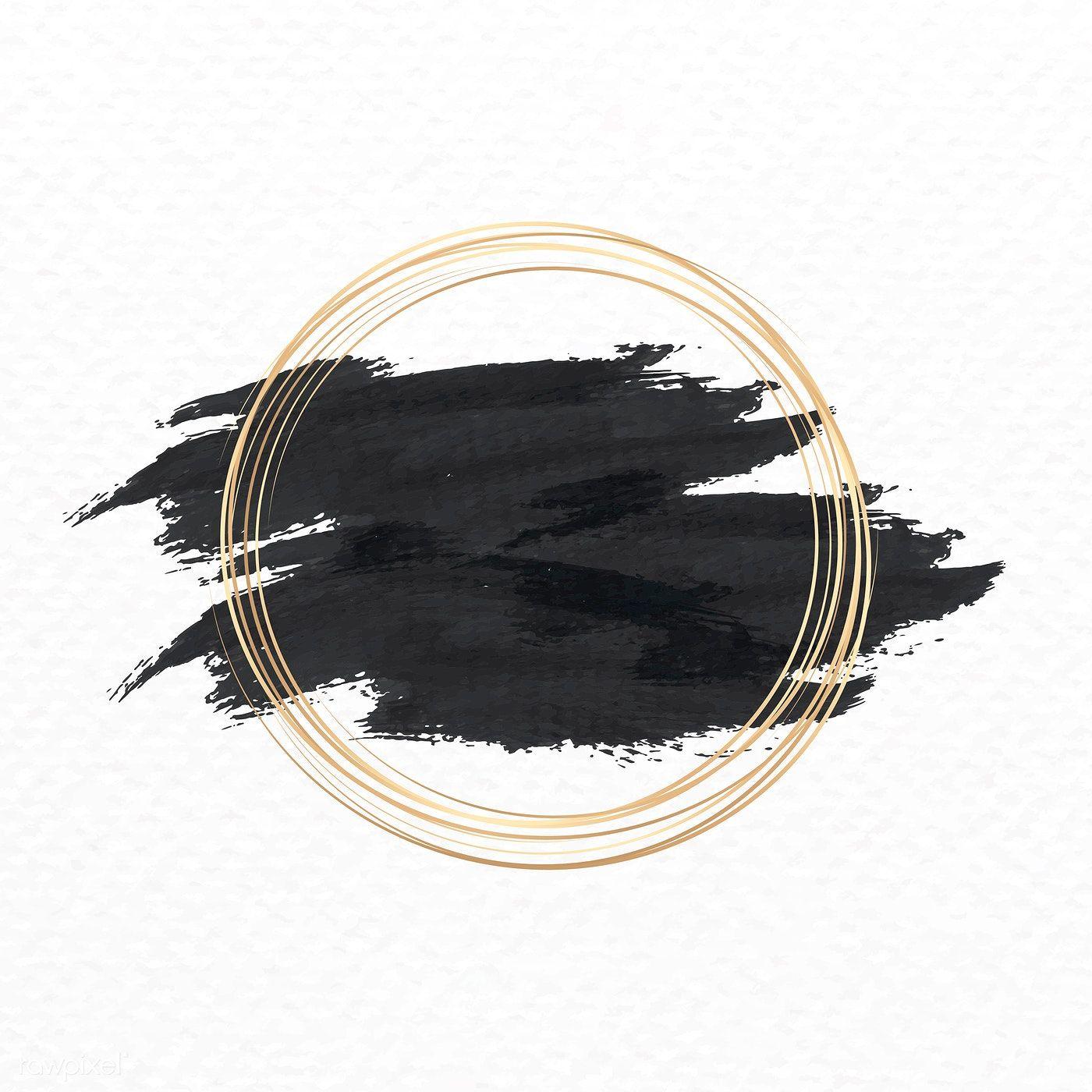 Download Premium Vector Of Gold Circle Frame On A Black Background Vector In 2020 Gold Circle Frames Circle Frames Instagram Background