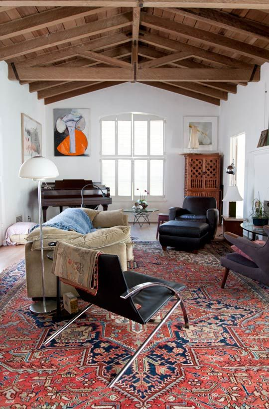 Joan Jim S Lovely Artful Home Green Tour Apartment Therapy Rugs In Living Room Living Room Red Persian Rug Living Room #persian #rug #modern #living #room