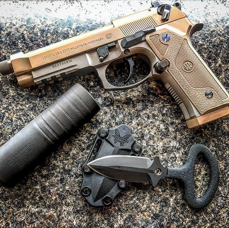 Photo: Beretta M9A3, SilencerCo Omega 9k, and Benchmade CBK
