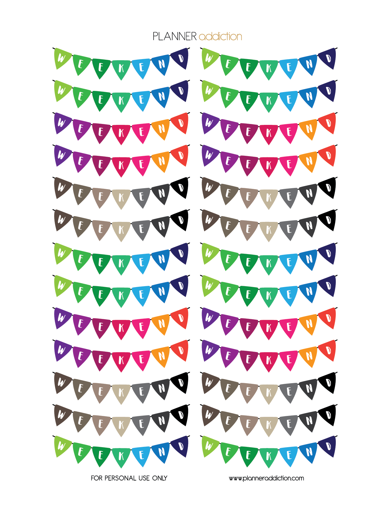 free printable planner stickers colorful banner by planner