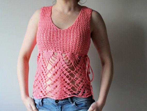 Pink Crochet tank top Tank top for women ♡ by KnitandCrochetbySkai