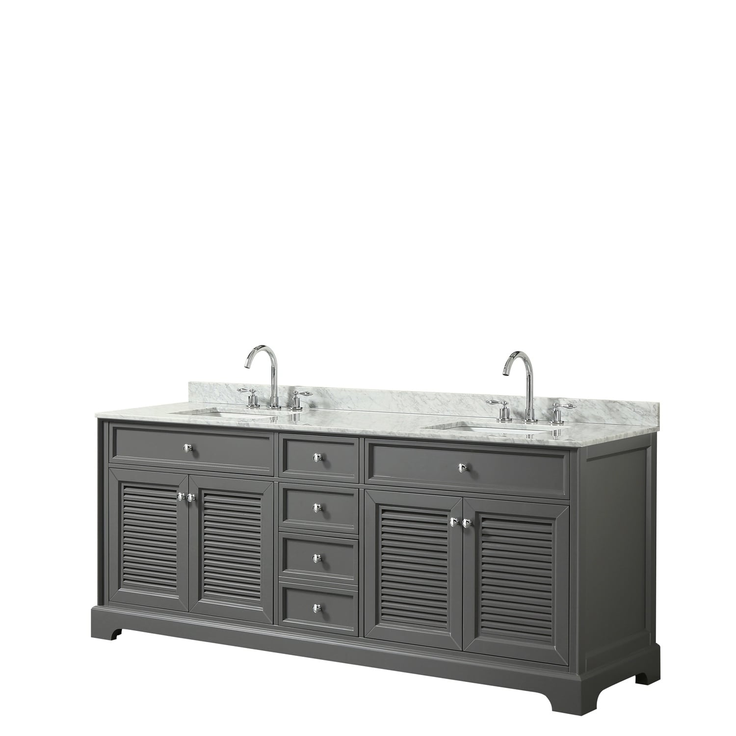 Tamara 80 Inch Dark Gray Double Vanity Square Sinks No Mirror