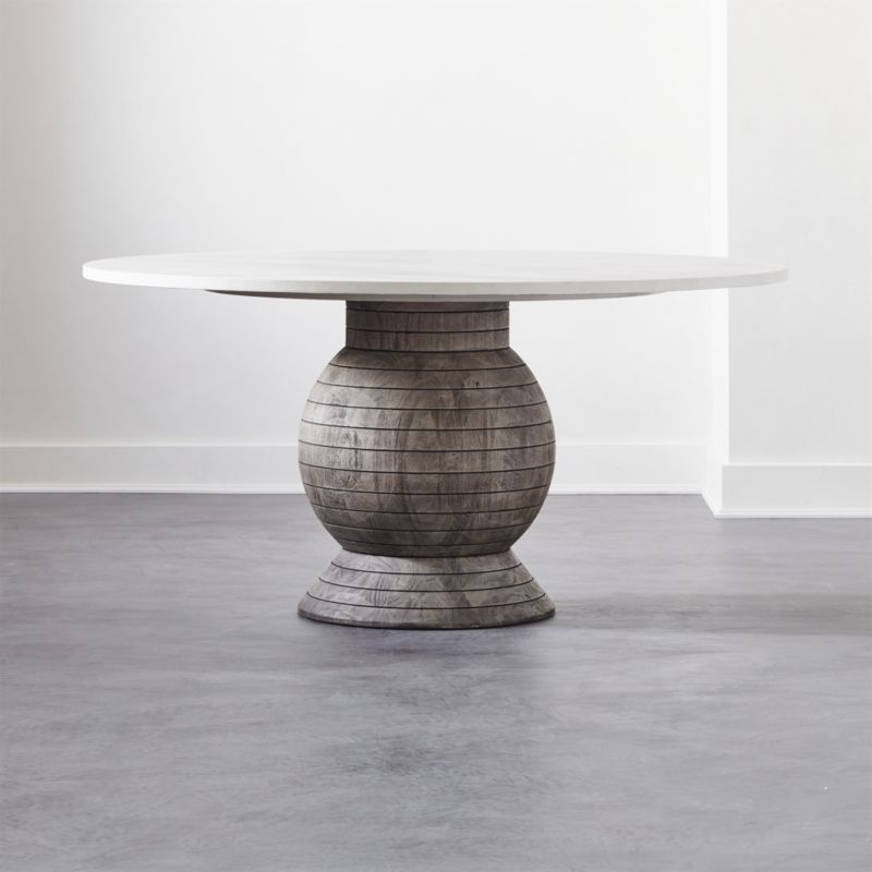 Shop Balance Round Pedestal Dining Table Brett Beldock S Design Turns The Traditional Round Pedestal Dining Table Pedestal Dining Table Round Pedestal Dining