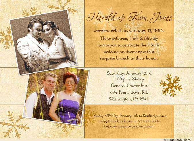 Snowflake golden anniversary invitation photo ivory & gold 50th