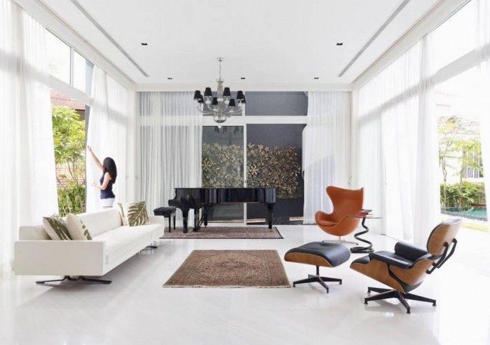 Stylish Living Room With White Interior Design And Brown Black Iconic Eames  Chair Furniture White Sofa And Elegant Black Piano imitation products, ...