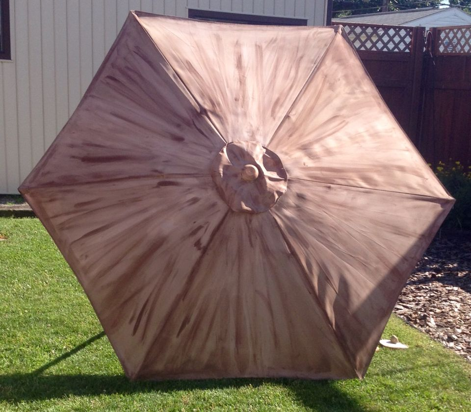 Painting Patio Umbrella I Used Acrylic Dark Brown Paint . I Applied It In  Triangle Sections . Each Section I Dampened Before I Applied Paint .
