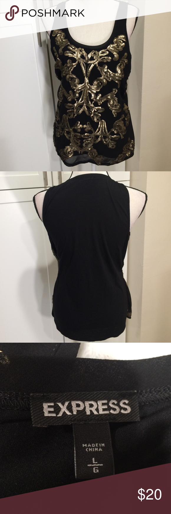 2b1ac104315c1 Beautiful black w gold sequence Sleeveless black w gold sequence elegant  top Express Tops Blouses