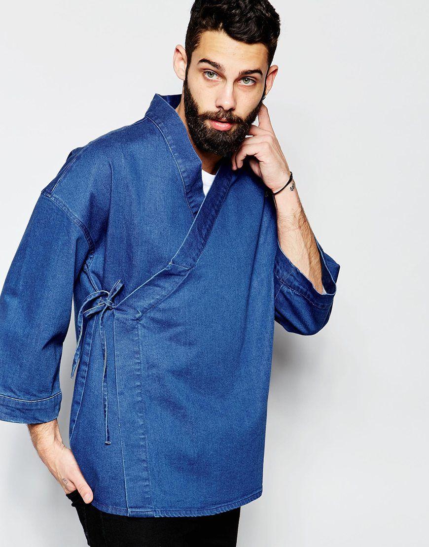 fe6101806d9 Denim Wrap Front Kimono Mens Kimono Shirt, Male Kimono, Kimono Jacket,  Kimono Fashion