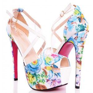 Biale Sandaly W Kolorowe Kwiaty Wysokie Szpilki Heels Fashion Shoes