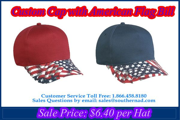 Custom   Cap with American Flag Bill Mid Profile Structured 5 Panel.    capstoyou 2e5ac8114491