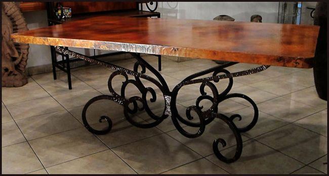 Rectangular Copper Top Dining Table Wrought Iron Table Base 1 24 Wrought Iron Dining Table Metal Dining Room Table Wrought Iron Table