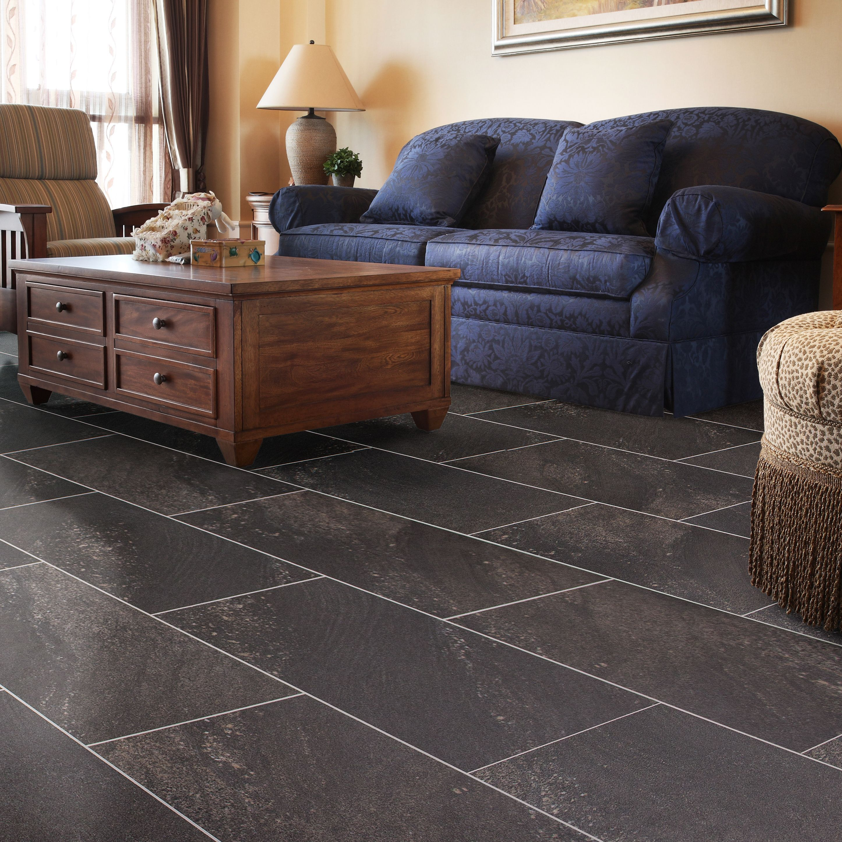 dark grey natural stone effect waterproof luxury vinyl click