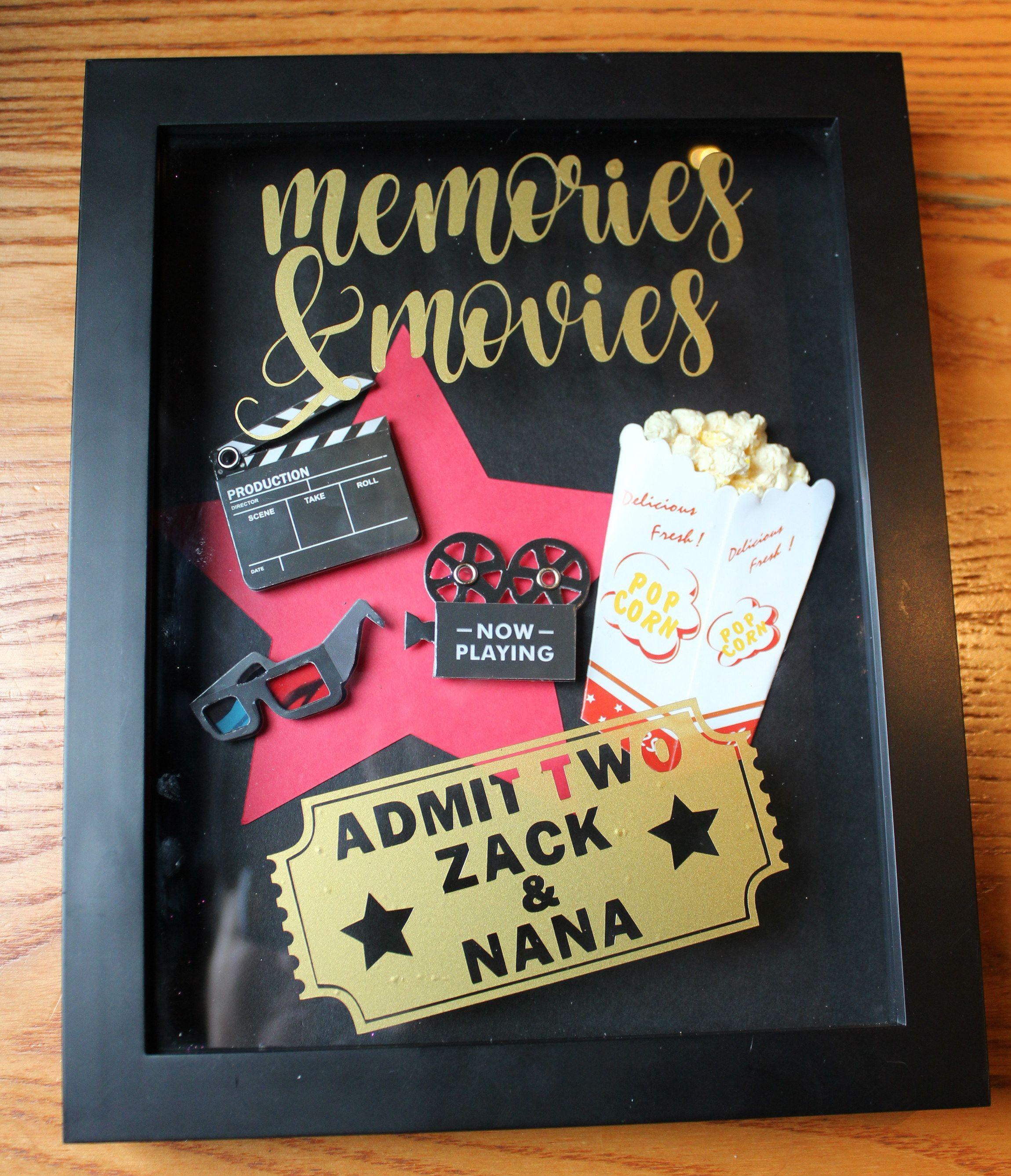 Movie ticket memory shadow box made with a cricut explore one jpg 2300x2675 Shadow  box movie