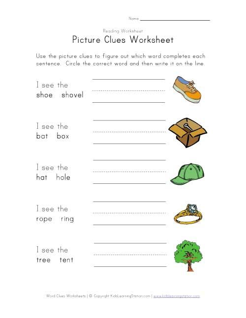 picture clues worksheet projects to try worksheets kids homework learning time. Black Bedroom Furniture Sets. Home Design Ideas
