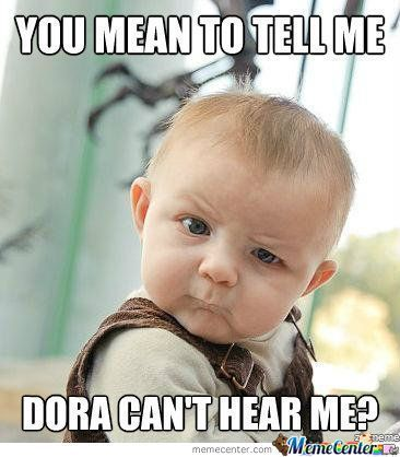 This little dude has a huge crush on Dora!