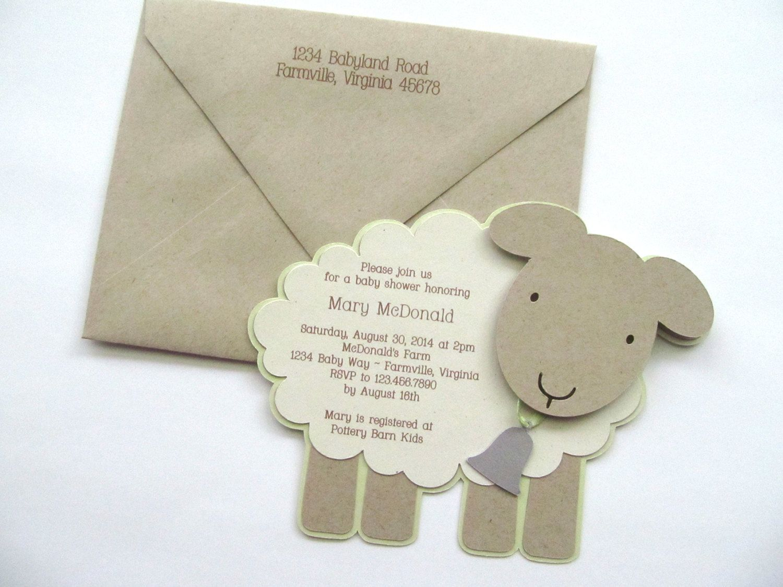 Vintage Themed Lamb Baby Shower Invitation By Studio73b On Etsy