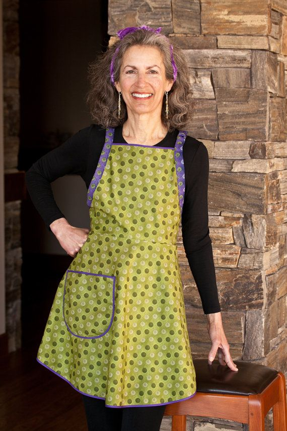 Everyday Flair Olive Dazzle Apron -- Avocado and Moss Green with Deep Purple