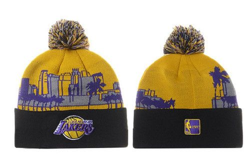ce53b45655e Los Angeles Lakers Winter Outdoor Sports Warm Knit Beanie Hat Pom ...